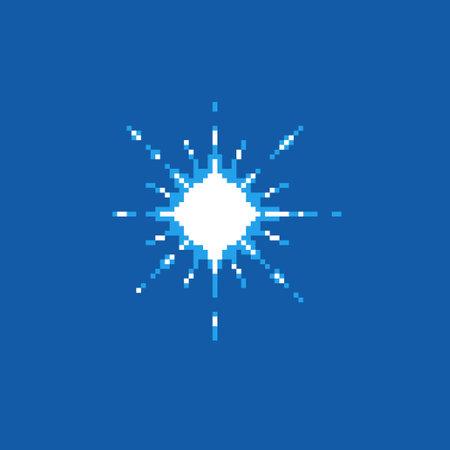 colorful simple flat pixel art illustration of cartoon multibeam radiance effect