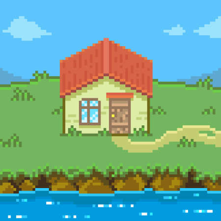 colorful simple flat pixel art illustration of cartoon landscape of a house by the water in the mountains
