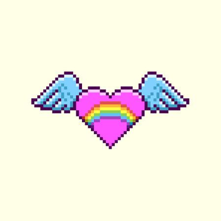colorful simple flat pixel art illustration of cartoon winged pink heart with lgbt rainbow inside Иллюстрация