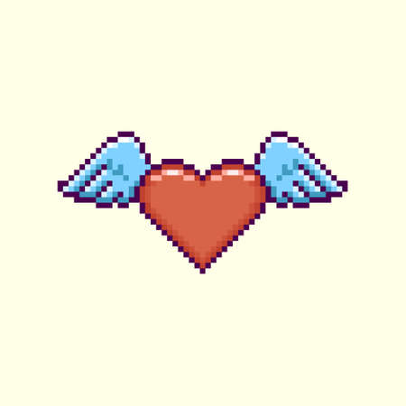 colorful simple flat pixel art illustration of cartoon winged red heart