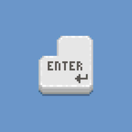 colorful simple flat pixel art illustration of cartoon enter button from computer keyboard