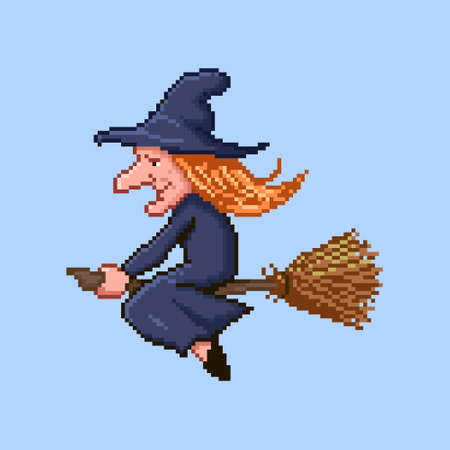 colorful simple flat pixel art illustration of cartoon profile of a witch flying on a broomstick