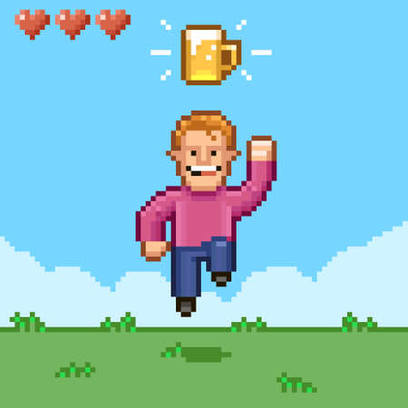 colorful simple flat pixel art illustration of cartoon smiling male retro video game character bouncing under a mug of beer Иллюстрация