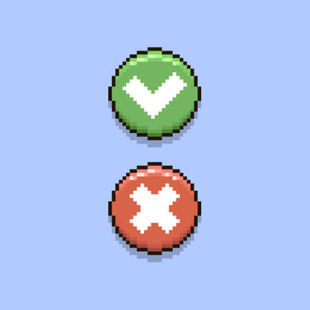 colorful simple flat pixel art illustration of round cartoon red cancel button and green accept button Иллюстрация