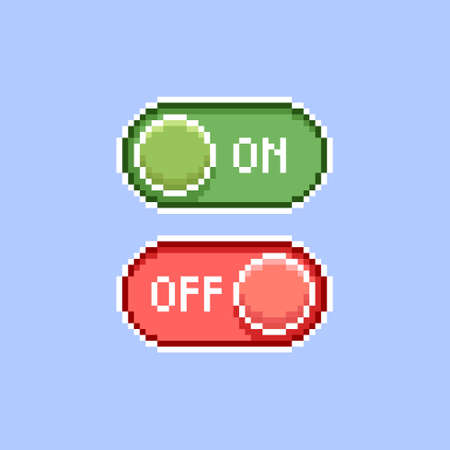 colorful simple flat pixel art illustration of cartoon red and green on, off switch icons