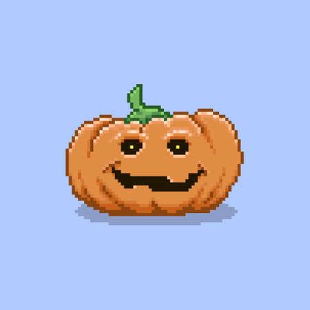 colorful simple flat pixel art illustration of cartoon smiling traditional halloween pumpkin