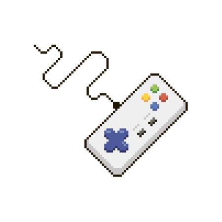 colorful simple flat pixel art illustration of cartoon rectangular joystick for retro video game console