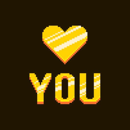 colorful simple flat pixel art illustration of cartoon golden inscription love you with abstract heart on black background