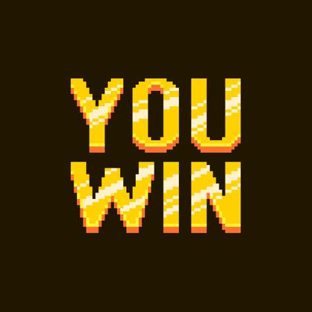 colorful simple flat pixel art illustration of cartoon golden inscription you win on a black background Иллюстрация