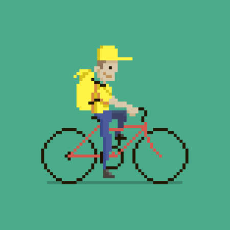 colorful simple flat pixel art illustration of cartoon character delivery man in yellow uniform with yellow backpack riding red bike