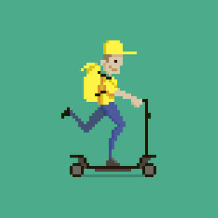 colorful simple flat pixel art illustration of cartoon character delivery man in yellow uniform with yellow backpack riding scooter