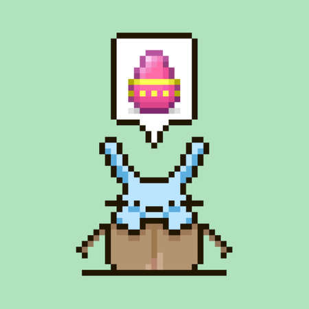 colorful simple flat pixel art illustration of cartoon cute bunny sitting in a cardboard box with an Easter egg in a speech bubble over his head