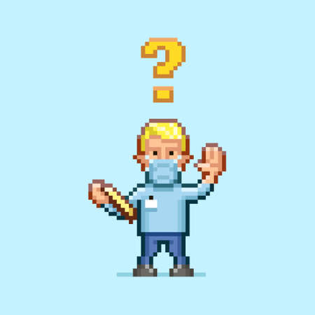 colorful simple flat pixel art illustration of cartoon doctor in a medical mask with a tablet in his hand and with an question mark above his head Иллюстрация