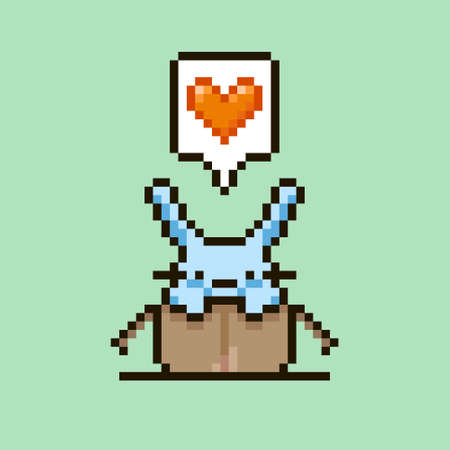 colorful simple flat pixel art illustration of cartoon cute rabbit sitting in a cardboard box with a red heart in a speech bubble above his head