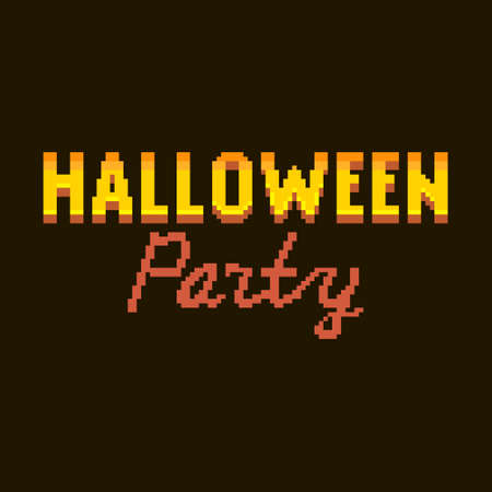colorful simple flat pixel art illustration of cartoon golden and red gradient lettering inscription halloween party on a black background