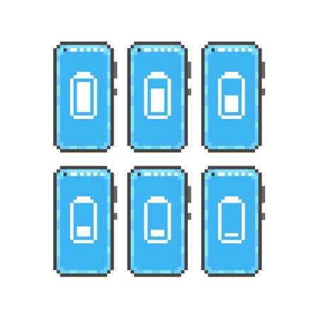 colorful simple flat pixel art illustration of set of icons of different battery level on the display of a smartphone with a front camera in the upper corner