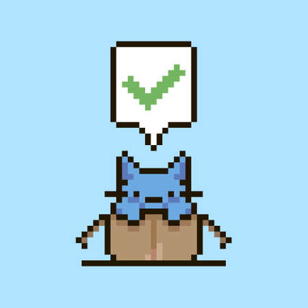 colorful simple flat pixel art illustration of cartoon cute kitten sitting in an open cardboard box and speech-bubble with green approval checkmark in it