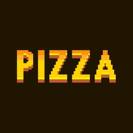 colorful simple flat pixel art illustration of cartoon golden gradient lettering inscription pizza on a black background