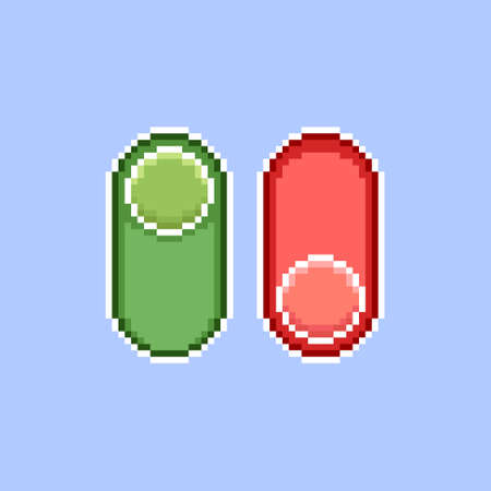 colorful simple flat pixel art illustration of cartoon vertical red and green on, off switch icons Иллюстрация