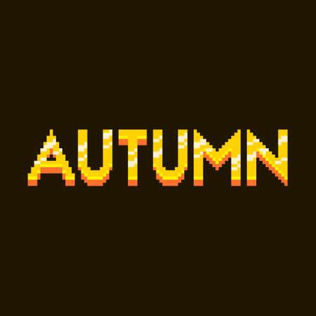 colorful simple flat pixel art illustration of cartoon golden inscription lettering autumn on a black background Иллюстрация