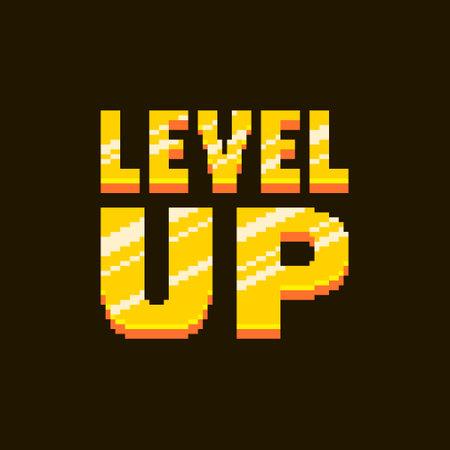colorful simple flat pixel art illustration of cartoon golden inscription lettering level up on a black background