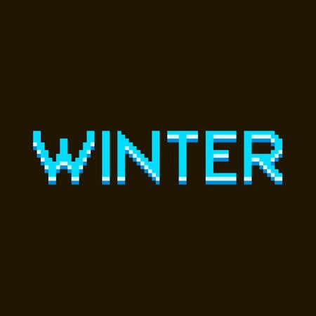 colorful simple flat pixel art illustration of cartoon blue ice inscription lettering winter on a black background Иллюстрация