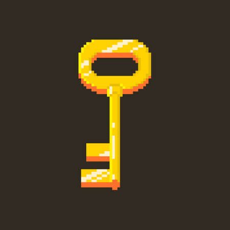 colorful simple flat pixel art illustration of cartoon golden vintage key with highlights