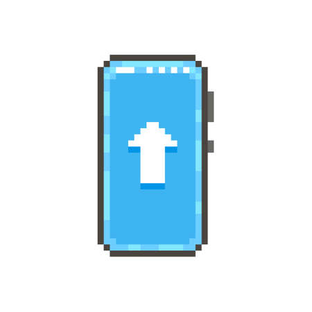 colorful simple flat pixel art illustration of modern smartphone with white up side arrow sign on screen Иллюстрация