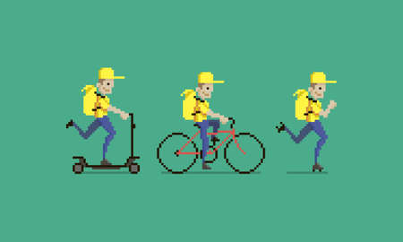 colorful simple flat pixel art illustration of cartoon character delivery men in yellow uniform with yellow backpacks wich riding on electric scooter, bike and roller skate
