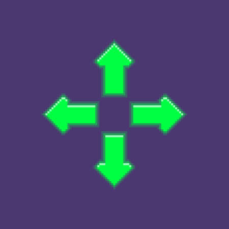 colorful simple flat pixel art illustration of four luminous arrows pointing in different directions neon green color Иллюстрация