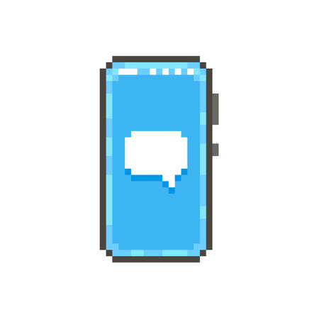 colorful simple flat pixel art illustration of modern smartphone with white speech bubble on screen Иллюстрация