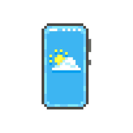 colorful simple flat pixel art illustration of modern smartphone with cloud and sun for a weather forecast app on the screen