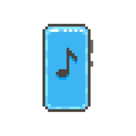 colorful simple flat pixel art illustration of modern smartphone with black musical note on the screen Иллюстрация