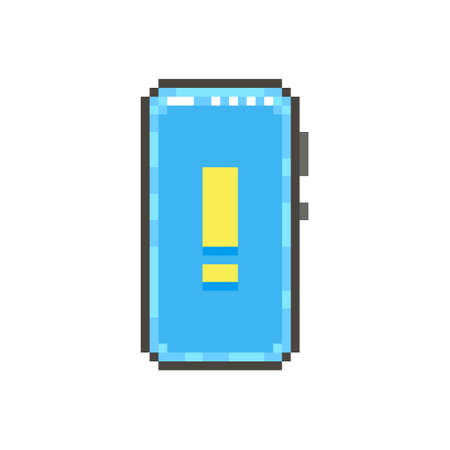 colorful simple flat pixel art illustration of modern smartphone with yellow exclamation mark on the screen
