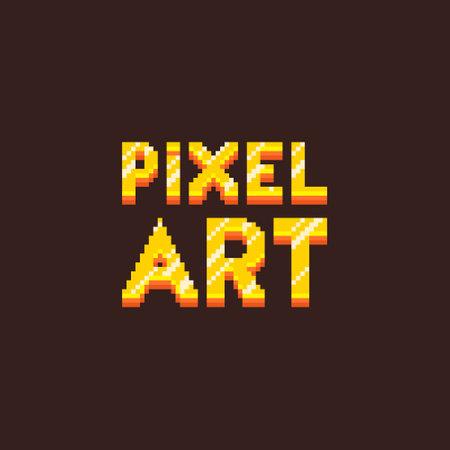 colorful simple flat pixel art illustration of cartoon golden inscription lettering pixel art on black beckground