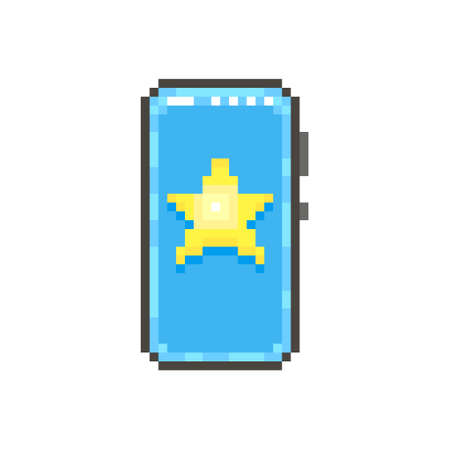 colorful simple flat pixel art illustration of modern smartphone with yellow star with glow on the screen