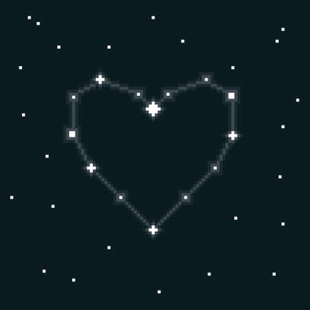 colorful simple flat pixel art illustration of cartoon constellation heart in space