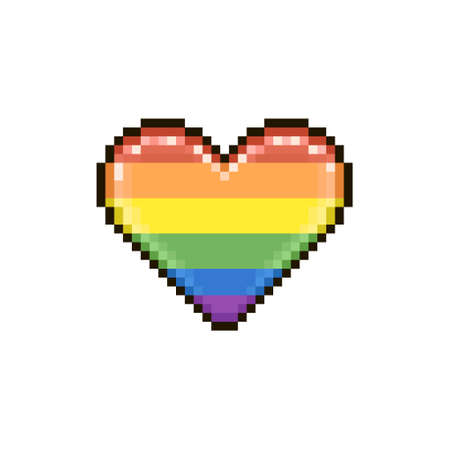 colorful simple flat pixel art illustration of cartoon abstract love heart in color of LGBT rainbow flag
