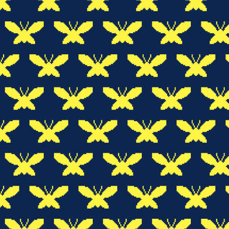 simple vector pixel art multicolor endless pattern of silhouette of butterfly or moth with spread wings. seamless pattern of flying butterfly or moth Иллюстрация