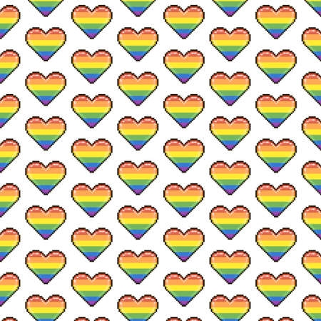 simple vector pixel art multicolor endless rainbow lgbt colors hearts pattern. seamless pattern of LGBT love hearts