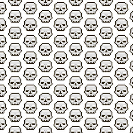 simple vector pixel art multicolor endless pattern of white skulls. seamless pattern of death skull