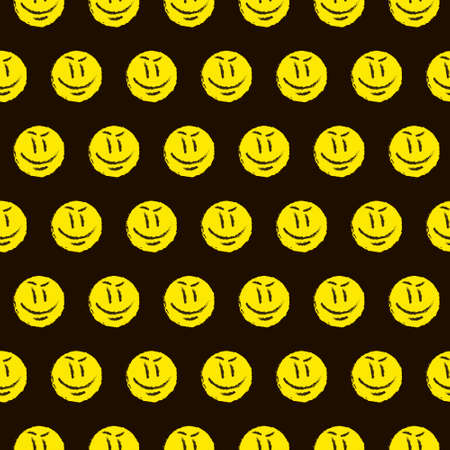 simple vector flat art multicolor endless pattern of hand drawn round yellow smiley face. seamless pattern of cartoon emoticon smile
