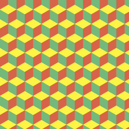 seamless abstract cube pattern. colorful geometric isometric vector wallpaper. endless pattern background of cubes. yellow, green, red cubes Иллюстрация