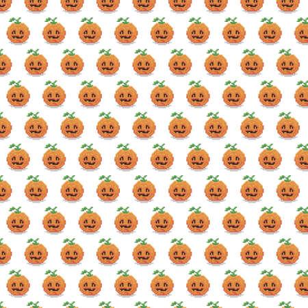 simple vector pixel art multicolor endless pattern of halloween halloween pumpkin. seamless pattern of cartoon pumpkin face