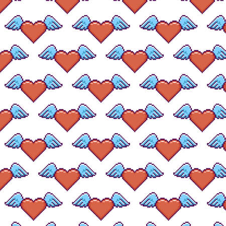 simple vector pixel art multicolor endless pattern of heart with wings. seamless pattern of flying love hearts