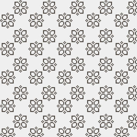 simple vector pixel art black and white endless pattern of abstract geometric flower. seamless pattern of abstract decorative black geometric flowers on white background