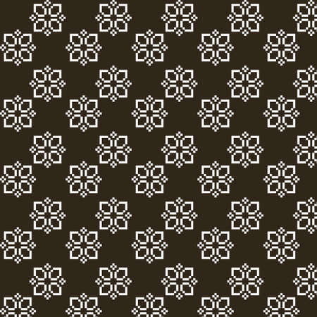 simple vector pixel art black and white endless pattern of abstract geometric flower. seamless pattern of abstract decorative white flowers on black background Иллюстрация
