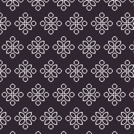 simple vector pixel art black and white endless pattern of abstract geometric flower. seamless pattern of abstract decorative white geometric flowers on black background