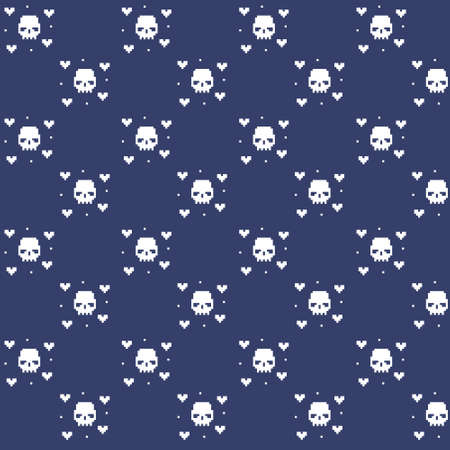 simple vector pixel art multicolor endless pattern of skull with abstract hearts. seamless pattern of white human skull with abstract hearts on dark blue background