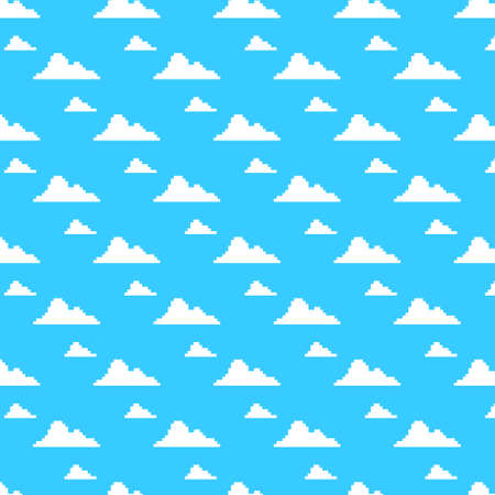 simple vector pixel art multicolor endless cartoon pattern of blue sky with white clouds. seamless pattern of white clouds on a blue background